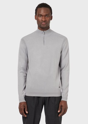 Emporio Armani Half-Zip Sweater With Ottoman Details