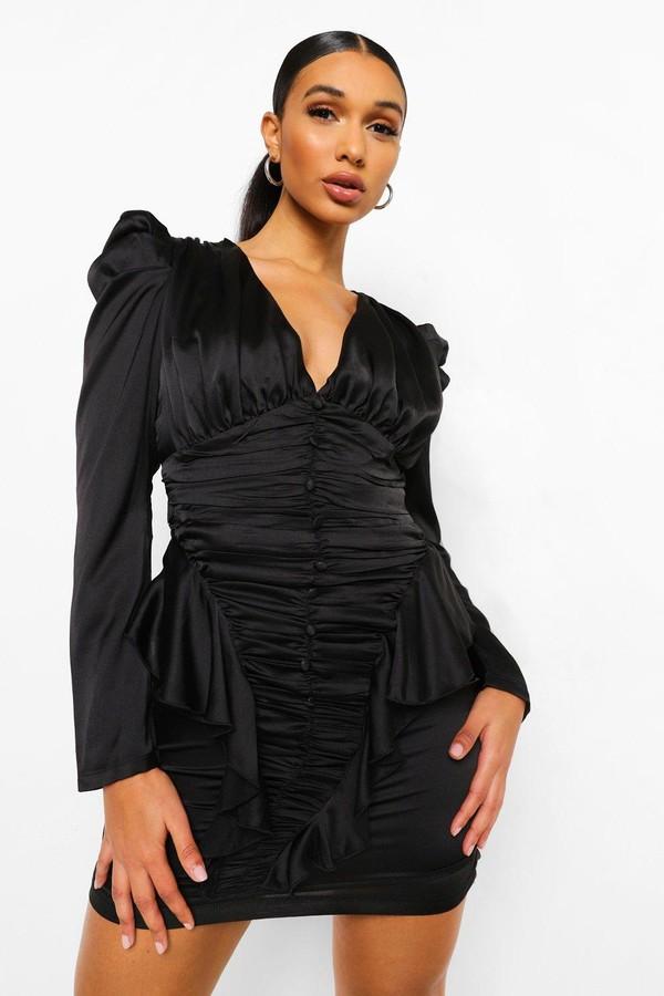 boohoo Button Detail Satin Ruffle Dress