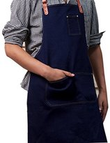 Shopline Kitchen Apron, Durable Cotton Denim Apron with Pockets for Women and Men, Suitable for Chef, Cooking Lover, Jewelry Studio
