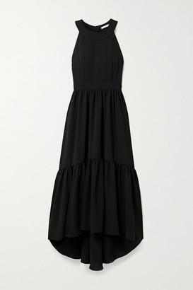 LAURA GARCIA Natalie Asymmetric Tiered Crepe Dress - Black