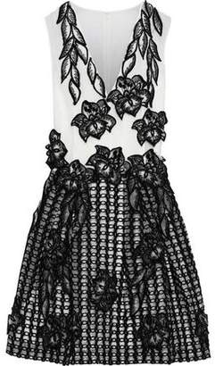 Alberta Ferretti Floral-appliqued Embroidered Silk-organza Mini Dress