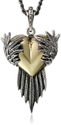 King Baby Studio Silver Raven Wings with Alloy Heart Pendant Necklace 24""