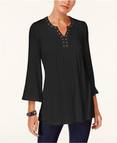 Style&Co. Style & Co Grommeted Split-Neck Top, Created for Macy's
