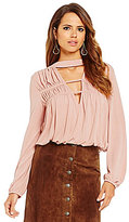 Gianni Bini Clara Choker Neck Long Sleeve Knit Top