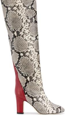 Gia Couture Python Print Knee High Boots