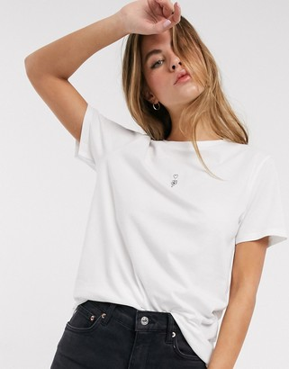 Asos Design DESIGN t-shirt with tiny sketchy flower in organic cotton