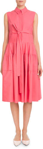 DELPOZO Sleeveless Pleated-Waist Cotton Poplin Shirtdress
