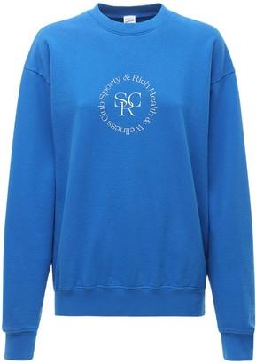 Sporty & Rich Printed Cotton Crewneck Sweatshirt