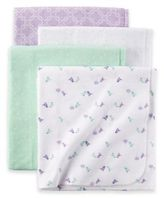 Carter's 4-Pack Birdie Receiving Blankets in Mint/Lavender