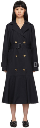 Tibi Navy Twill Trench Coat