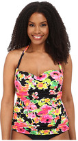 Lauren Ralph Lauren Plus Size Brilliant Floral Retro Shirred Halterkini w/ Molded Cup
