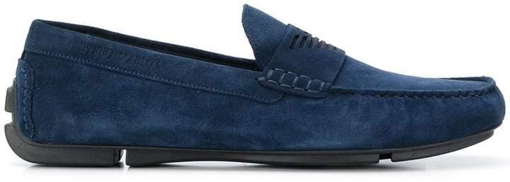 Emporio Armani logo embossed loafers