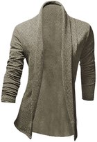 uxcell® Men Shawl Collar Long Sleeve Front Opening Leisure Cardigan M