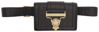 Versace Black Croc Salopette Buckle Belt Bag