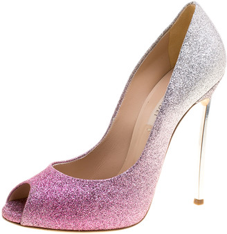 Casadei Pink and Silver Ombre Glitter Pegasus Peep Toe Pumps Size 38.5