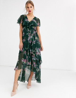 Asos Design DESIGN cape back dipped hem maxi dress in garden bouquet print-Multi