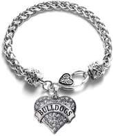 Inspired Silver Bulldogs School Mascot Pave Heart Charm Bracelet Silver Plated Lobster Clasp Clear Crystal Charm