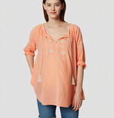LOFT Maternity Embroidered Peasant Blouse