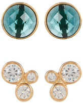 Melinda Maria Jasmine CZ Stud & Blue Topaz Earrings Set