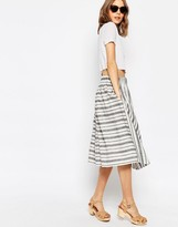 Asos Full Midi Skirt in Linen Stripe
