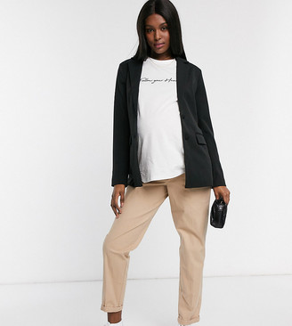 Asos DESIGN Maternity chino pants with under the bump waistband-Beige