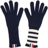 Thom Browne Navy Rib Cashmere Four Bar Gloves