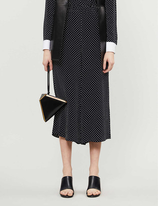 Theory Polka dot-patterned cropped wide-leg crepe trousers