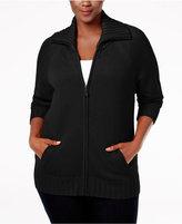 Karen Scott Plus Size Wing-Collar Cardigan, Only at Macy's