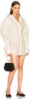 Jacquemus Shirt Dress in Checkered & Plaid,Brown,Neutrals.