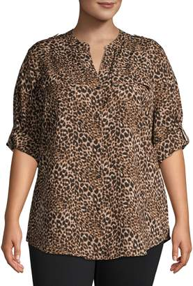 Calvin Klein Plus Leopard-Print Long-Sleeve Shirt