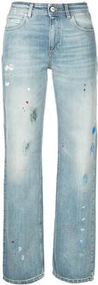 ALEXACHUNG Alexa Chung paint-splatter straigh-leg jeans