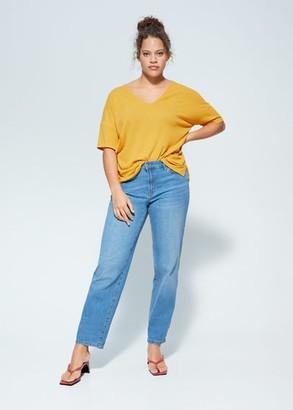 MANGO Violeta BY Striped rib T-shirt beige - S - Plus sizes