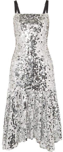 Dolce & Gabbana Paillette-embellished Tulle Midi Dress - Silver