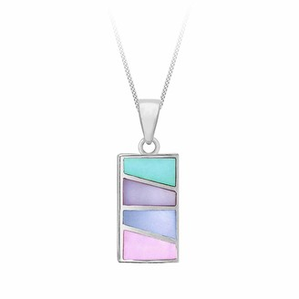"""Mother of Pearl Tuscany Silver Sterling Silver Multicolour Rectangle Pendant on Adjustable Curb Chain of 41cm/16""""-46cm/18"""""""