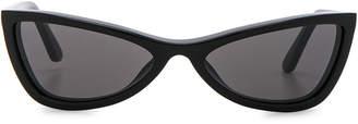 Balenciaga Slim Cateye Sunglasses in Shiny Black with Smokey Lense | FWRD