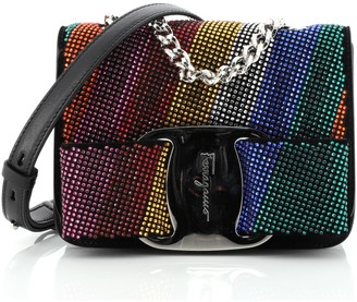 Salvatore Ferragamo Miss Vara Bow Crossbody Bag Crystal Embellished Leather Mini