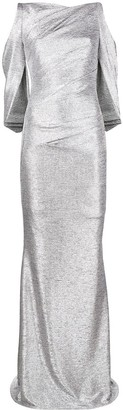 Talbot Runhof Metallic Fitted Long Dress