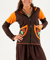Aller Simplement Brown & Orange Pocket-Accent Hoodie