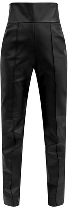 Alexandre Vauthier High-rise Leather Slim-leg Trousers - Black