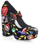 Alice + Olivia Houston Embroidered Velvet Mary Jane Platform Pumps