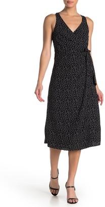 Rowa Polka Dot Wrap Midi Dress