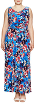 London Times Double V-Neck Ruched Maxi Dress