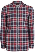 Topman Navy and Red Check Overshirt