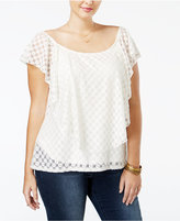 American Rag Trendy Plus Size Lace Top, Only at Macy's