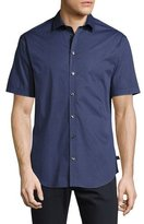 Armani Collezioni Printed Short-Sleeve Stretch-Cotton Shirt, Blue