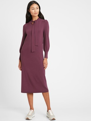 Banana Republic Tie-Neck Sweater Dress
