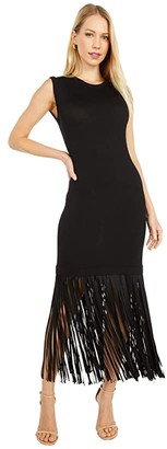 Boutique Moschino Fringe Dress (Black) Women's Clothing