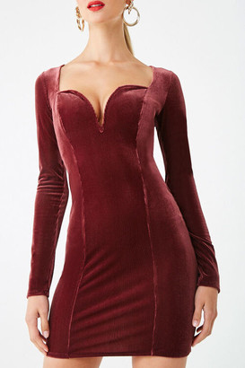 Forever 21 Ribbed Velvet V-Wire Bodycon Dress