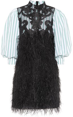 Ganni Exclusive to Mytheresa Faux feather and lace minidress