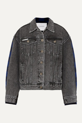 pushBUTTON Paneled Acid-wash Denim And Checked Flannel Jacket - Gray